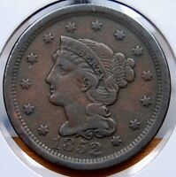 1852 BRAIDED HAIR LARGE CENT CHOICE FINE EVEN CHOCOLATE & SMOOTH SURFACES