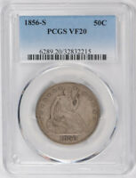 1856 S 50C LIBERTY SEATED HALF DOLLAR PCGS VF 20 FINE CERT2215
