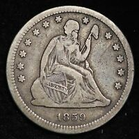1859 O SEATED LIBERTY QUARTER CHOICE VF  E177 FM