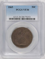 1865 50C LIBERTY SEATED HALF DOLLAR PCGS VF 30 FINE TO EXTRA FINE TOUGH