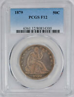 1879 50C LIBERTY SEATED HALF DOLLAR PCGS F 12 FINE LOW MINTAGE TOUGH