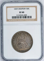 1839 WITH DRAPERY SEATED LIBERTY HALF DOLLAR NGC XF 40 EXTRA FINE ATTRACTIVE