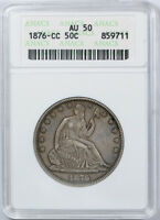 1876 CC LIBERTY SEATED HALF DOLLAR ANACS AU 50 CARSON CITY ABOUT UNCIRCULATED
