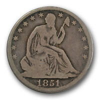1851 O 50C LIBERTY SEATED HALF DOLLAR GOOD VG FULL RIMS R1419