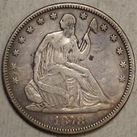 1878 SEATED LIBERTY HALF DOLLAR BETTER DATE FINE TO FINE  0825 01