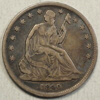 1840 SEATED LIBERTY HALF DOLLAR REVERSE OF 1839 SMALL LETTERS ORIGINAL VF