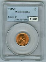 1955 S LINCOLN CENT  PCGS MS66RD