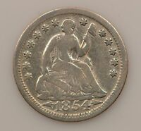 1854 P SEATED LIBERTY SILVER HALF DIME G05