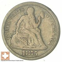 1875 SEATED LIBERTY SILVER DIME 7280