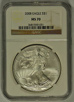2008 UNITED STATES SILVER EAGLE NGC MS70