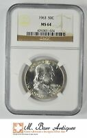 1963 FRANKLIN HALF DOLLAR 90 SILVER   NGC GRADED   MS64 YC537
