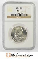 MS64 1963 FRANKLIN HALF DOLLAR 90 SILVER   GRADED NGC XC25