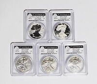 2011 25TH ANNIVERSARY SILVER EAGLE 5 COIN SET  FIRST STRIKE  PCGS  3