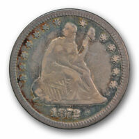 1872 25C LIBERTY SEATED QUARTER FINE VF TONED BETTER DATE R1633