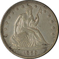 1859 50C LIBERTY SEATED HALF DOLLAR ABOUT UNCIRCULATED