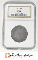 PF64 1890 SEATED LIBERTY HALF DOLLAR   GRADED NGC SC42