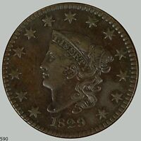 1829 1C NEWCOMB 6 BN CORONET HEAD CENT CHOICE XF BEAUTIFUL COLOR