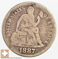 1887 SEATED LIBERTY SILVER DIME 3190