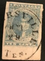 CONFEDERATE STATES 2  TENNESSEE PMK HUGE MARGINS CSA STAMP