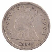 1891 LIBERTY SEATED QUARTER DOLLAR Z52