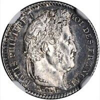 FRANCE LOUIS PHILIPPE 1846 A  25 CENTIMES COIN UNCIRCULATED CERTIFIED NGC MS 64