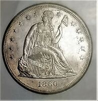 1860 O SEATED DOLLAR MS BOLD ORIGINAL LUSTER   0116