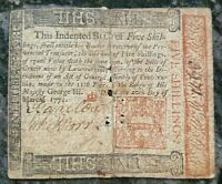 1771 PENNSYLVANIA FIVE SHILLINGS NOTE   COLONIAL CURRENCY