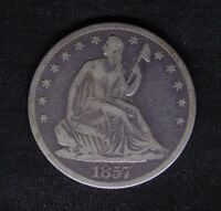 1857 O SEATED LIBERTY SILVER HALF DOLLAR 50C F FINE
