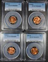 LOT OF 4 PCGS GRADED MS 66 RED LINCOLN CENTS: 2 1956 D AND 2 1958 D