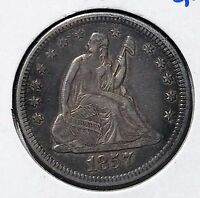 1857 O SEATED QUARTER XF