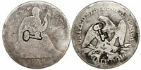 1872  77 50 CENTAVOS SHORT THICK KEY COUNTERMARKED 1856 S SEATED HALF