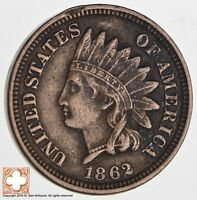 1862 INDIAN HEAD CENT   COPPER NICKEL   CIVIL WAR ERA 2574