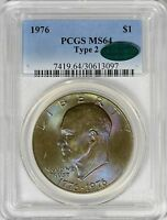 1976 TYPE 2 EISENHOWER DOLLAR PCGS MS64   TONING  CAC APPROVED