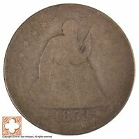 1853 SEATED LIBERTY QUARTER DOLLAR W/ ARROWS AT DATE AND RAYS AROUND EAGLE J72