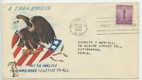1942 PATRIOTIC  FDC,  A FREE AMERICAMALICE TOWARD NONE JUSTICE TO ALL