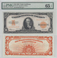 1922 $10 GOLD CERTIFICATE NOTE F 1173 PMG GEM UNCIRCULATED 65 EPQ