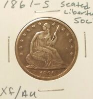 1861 S 50C SEATED LIBERTY HALF DOLLAR   XF/AU COIN WITH GREAT EYE APPEAL
