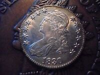 1830 CAPPED BUST HALF. EXCELLENT AU COIN. ACCURATE PICTURES.