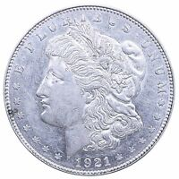 1921 D MORGAN SILVER DOLLAR ABOUT UNCIRCULATED AU