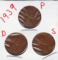 1939 P D AND S LINCOLN CENT IN GOOD AND BETTER  CONDITION 3 COINS STK6