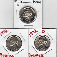 1972  P  D  & S  JEFFERSON NICKEL IN UNCIRCULATED AND PROOF CONDITION STK9