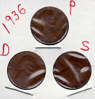1936 P,D,AND S LINCOLN CENT IN GOOD & BETTER CONDITION 3 COINS  STK01