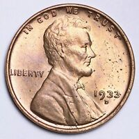 1933 D LINCOLN WHEAT CENT PENNY CHOICE BU RED  E201 KET