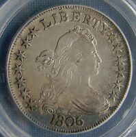 GORGEOUS 1806 DRAPED BUST HALF DOLLAR - POINTED 6 STEM - EXTRA FINE 45 BY PCGS