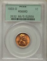 1933 D LINCOLN CENT PCGS MS66 RD 52559