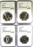 1880 P 1881 P 1984 D AND 1987 P KENNEDY HALF DOLLARS ALL NGC MS 66