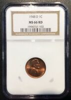 1948 D LINCOLN CENT NGC MS66 RED