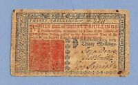 1776 NEW JERSEY 30 SHILLINGS COLONIAL CURRENCY SHARP FINE GRADE
