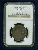 G.B./ENGLAND CHARLES I  1633 34  1 SHILLING SILVER COIN CERTIFIED NGC VF 35