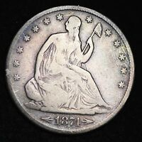 1874 S SEATED LIBERTY HALF DOLLAR CHOICE VG  E215 AFM